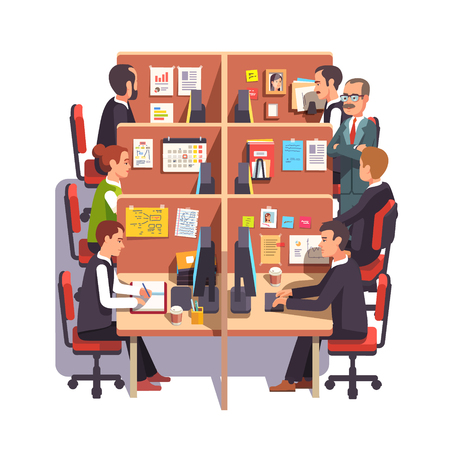 cubicle: Cubicle office work space with employees at the desks and supervising boss. Flat style color modern vector illustration. Illustration