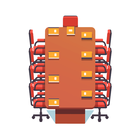 Empty conference room prepared for a meeting. Flat style color modern vector illustration.