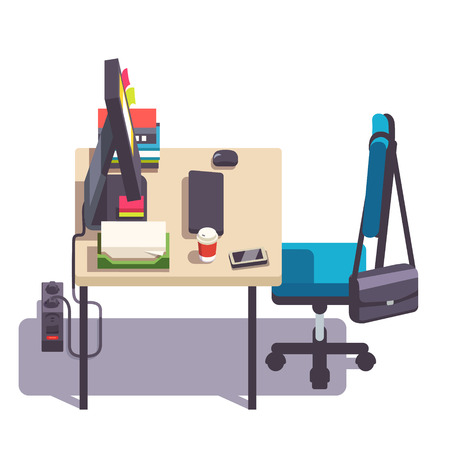 desktop computer: Home or office desk with casters chair, desktop computer, some papers and binders. Side view. Flat style color modern vector illustration. Illustration