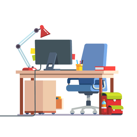 study table: Kids home learning and study desk with casters chair, desktop computer, book, table lamp and school backpack. Front side view. Flat style color modern vector illustration. Illustration