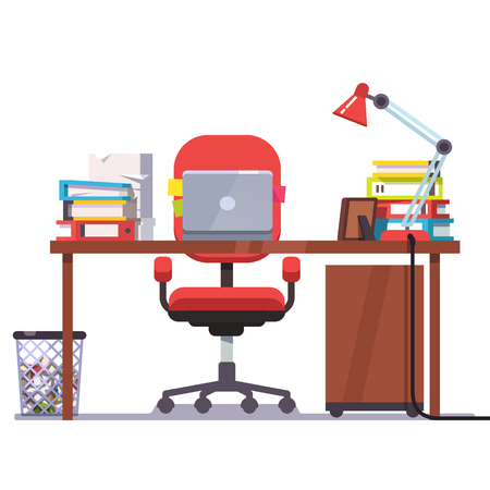 Home or office desk with casters chair, laptop computer, some papers, binders and table lamp. Front view. Flat style color modern vector illustration.