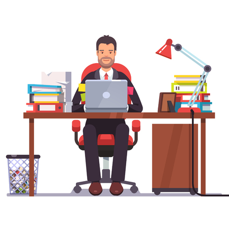 Business man entrepreneur in a suit working at his office desk. Flat style modern vector illustration. Illustration