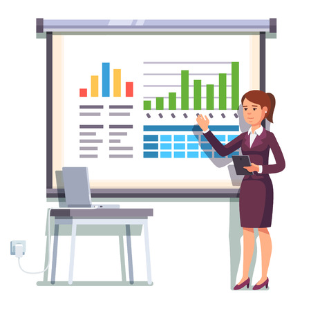 presentation screen: Business woman giving a speech showing sales statistics graphs on presentation screen. Flat style color modern vector illustration.