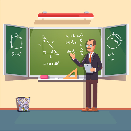 Mid age teacher with glasses and mustache giving a trigonometry lecture on a chalkboard. Flat style color modern vector illustration. Illustration
