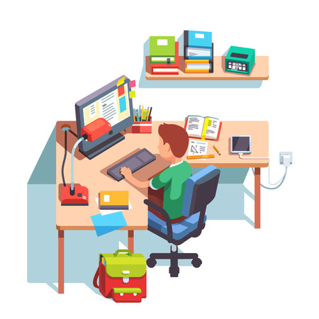 studying computer: Young school kid boy studying sitting in front of the desktop computer at his home desk. Doing homework at home table. Flat style color modern vector illustration.