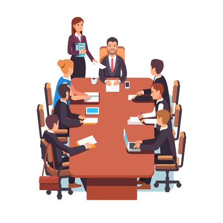 board meeting: Directors board meeting. Business executives people working together in conference room at big desk. Flat style color modern vector illustration.