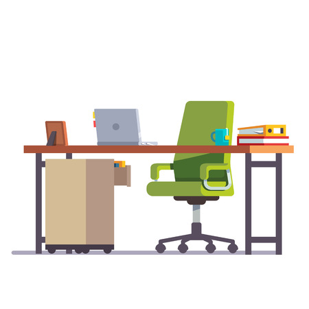Home or office desk with casters chair, laptop computer, some papers, binder and tea cup. Flat style color modern vector illustration.