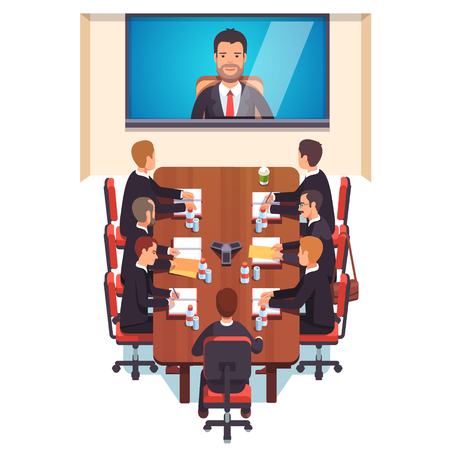 Corporations: Corporation directors board at the conference call meeting with CEO at the video call projection screen. Flat style color modern vector illustration.