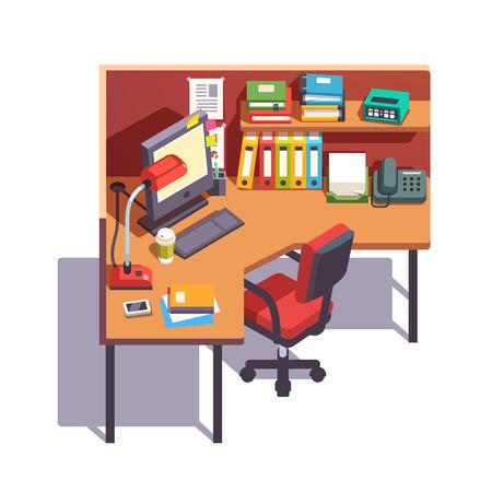 ejecutivo en oficina: cubículo de la oficina mesa de trabajo con la computadora de escritorio, carpetas de papel, libros, cuadernos de notas, teléfono y lámpara de mesa. vista lateral superior. color de estilo plano ilustración vectorial moderna.