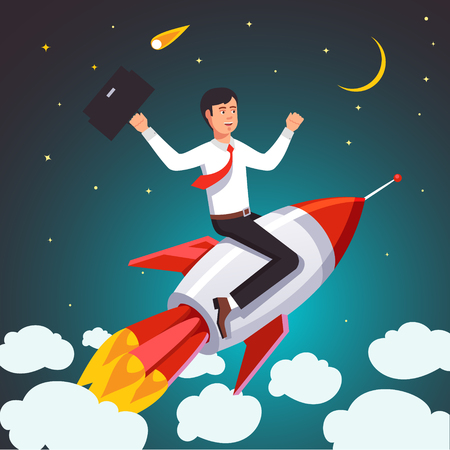 successful businessman: Successful businessman on a rocket flying high in the sky above the clouds. Flat style vector illustration. Illustration