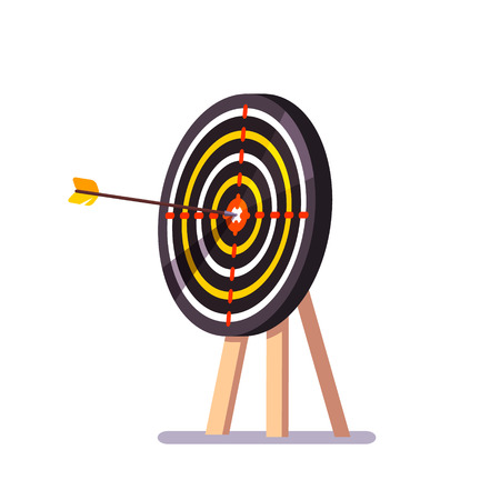 Arrow hitting target mark standing on a tripod. Flat style vector illustration.