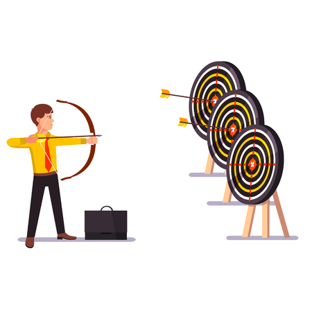 target practice: Businessman doing a perfect hit arrow target practice. Flat style vector illustration. Illustration