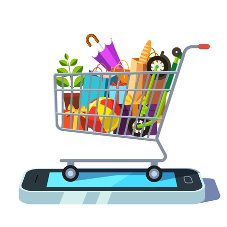 retail shopping: Mobile retail and ecommerce concept. Shopping cart full of goods standing on smartphone. Flat style vector illustration.