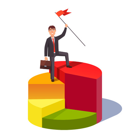 business leader: Market share leader concept. Business man standing with a flag pole on a largest sector of pie chart. Flat style vector illustration.