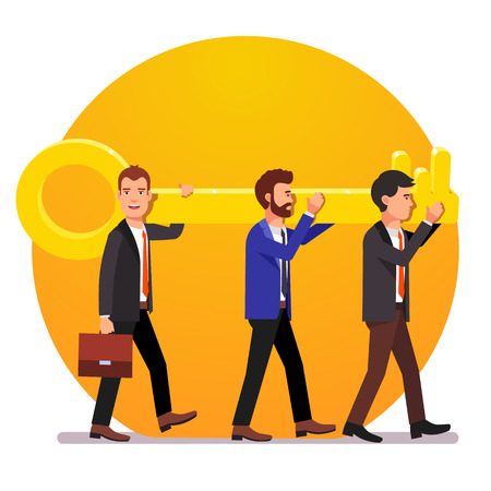 Problem solving team of business man with a key solution concept. Flat style vector illustration.