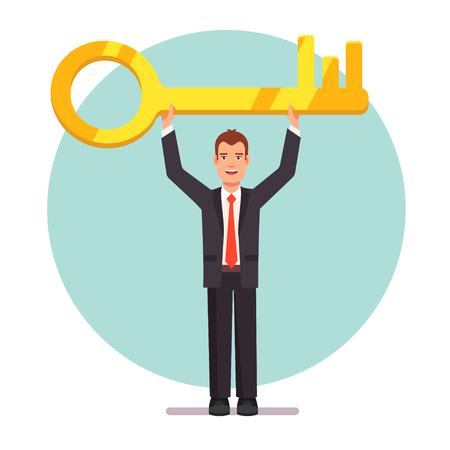 problem solution: Business person holding big key for a problem solution. Flat style vector illustration.