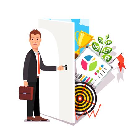 opening door: Business career opportunity concept. Opening door to world of entrepreneurship. Modern flat style vector illustration.
