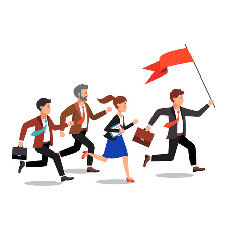 Business leader holding big flag and leading the way to his fellow colleagues businessman people. Flat style vector illustration. Illustration