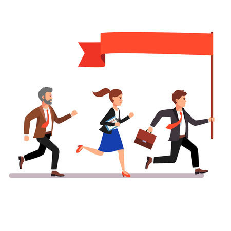 leading: Business leader holding big flag and leading the way to his fellow colleagues businessman people. Flat style vector illustration. Illustration