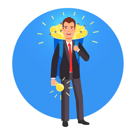 men in suit: Smart innovator and entrepreneur with a backpack sack full of glowing bright ideas. Flat style vector illustration.