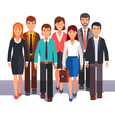Team of business man and woman standing together. Entrepreneurs group teamwork. Flat style vector illustration.