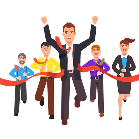 Geschäftsmann Ziellinie und rotem Band Veredelung zunächst in einem Markt Rennen zu reißen. Unternehmer Unternehmer Führer. Wohnung Stil Vektor-Illustration.