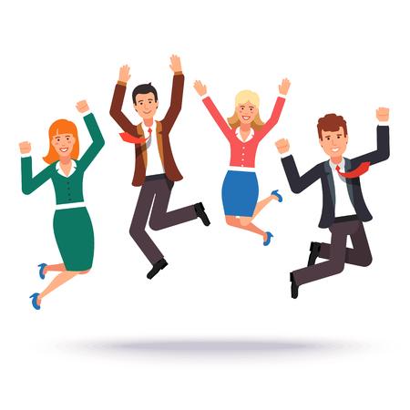 personas saltando: la gente de negocios de salto feliz que celebra su éxito. ilustración vectorial de estilo plano. Vectores