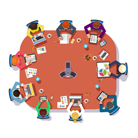 Business meeting over a big conference desk. Startup company people working together. Flat style vector illustration.