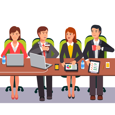 collaboration: Small collaboration team working together on a presentation project. Flat style vector illustration.