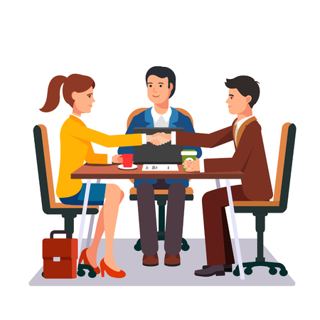 Successful business negotiations. Closed deal handshake over a desk. Flat style vector illustration. Illustration