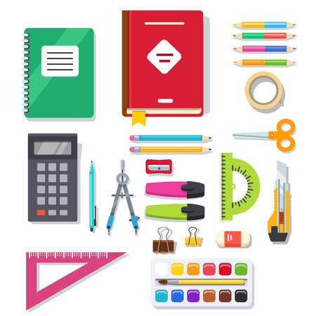utiles escolares: estudiante de la escuela y la oficina equipo de suministros de papelería. ilustración vectorial de estilo plano.