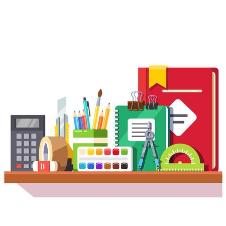 sellotape: School student stationary supplies on the shelf. Flat style vector illustration. Illustration