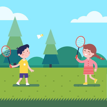 Kids playing badminton outdoor on the grass. Modern flat vector illustration clipart. Çizim