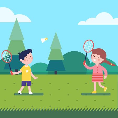 Kids playing badminton outdoor on the grass. Modern flat vector illustration clipart. Illustration