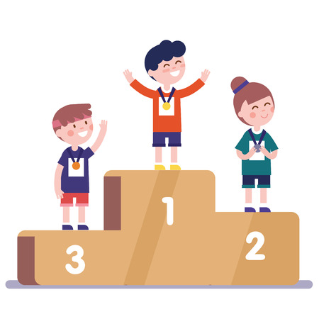 Medalists kids standing on competition winner podium with first, second and third place medals. Illustration