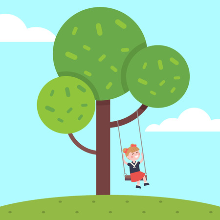 first grader: Girl swinging on a tree rope swing. Kid childhood happiness. Modern flat vector illustration clipart.