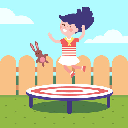 Girl jumping on a trampoline at the backyard. Childhood joy and happiness. Modern flat vector illustration clipart. Illustration