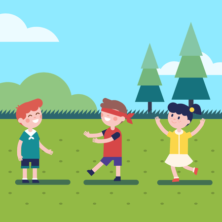 hide and seek: Kids playing outdoor blindfold game. Hide and seek or voice in the dark. Modern flat vector kids illustration clipart. Illustration