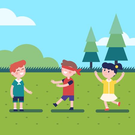 Kinderen spelen buiten blinddoek spel. Verstoppertje of stem in het donker. Moderne flat vector kinderen illustratie clipart.