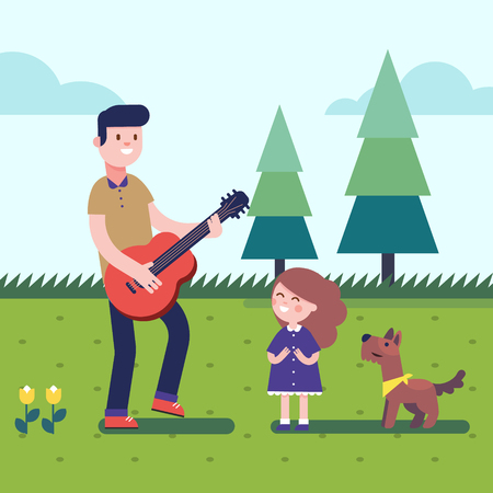 Father playing guitar music to his daugter girl with a dog. Outdoor musical excitement. Modern flat vector illustration clipart.