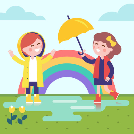 Two girls playing in the rain and rainbow. Kids dressed in raincoats and rubber boots with umbrella enjoying puddle on the grass. Modern flat vector illustration clipart.
