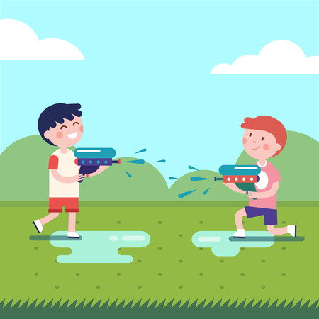 squirt: Two boys playing water guns wars. Wet kids shooting squirt guns. Modern flat vector illustration clipart.