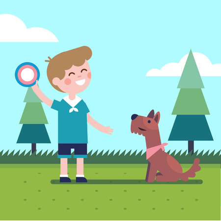 boy kid: Boy kid playing flying disk trow catch with his dog. Modern flat vector illustration clipart. Illustration