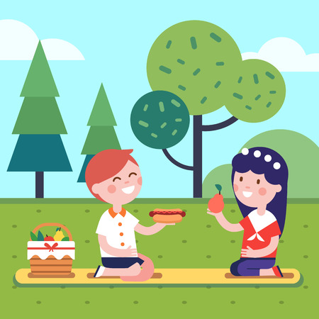 Boy and girl kids having lunch picnic at the park grass. Smiling kids characters. Modern flat vector illustration clipart. Illustration