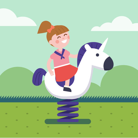 playground ride: Girl riding a spring horse ride at park playground. Smiling kid character. Modern flat vector illustration clipart.