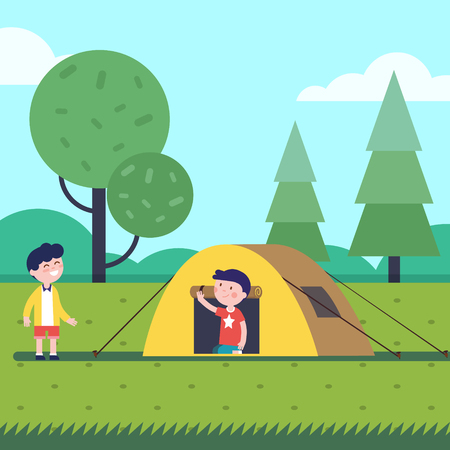 Boys having a good hike sleep with a tent. Happy kids characters. Modern flat vector illustration clipart. Illustration
