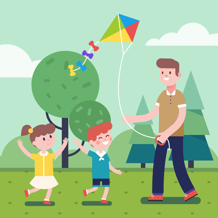flying kite: Father of brother playing with kids. Flying kite outdoors together with son and daughter. Smiling characters. Modern flat vector illustration clipart.