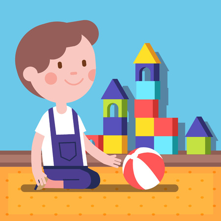 Small boy playing with a ball in a room. Modern flat vector illustration clipart. Illustration