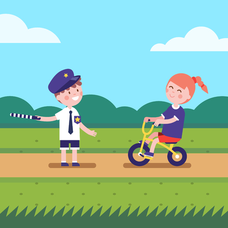 regulating: Kids playing police traffic officer regulating bike riding road. Girl and boy playing games characters. Modern flat vector illustration clipart.