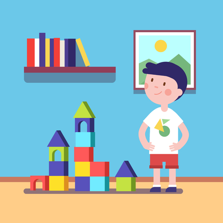 boy kid: Boy build a castle with wooden blocks building game. Proud kid character. Modern flat vector illustration clipart.